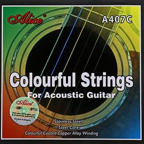 alice a407c Encordadura metálica para guitarra acústica Cada cuerda con color distinto