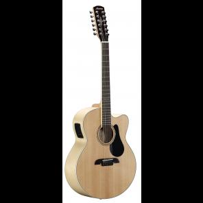 ALVAREZ AJ80CE12 JUMBO A/E Guitarra electro-acústica tamaño Jumbo sin Cutaway de 12 cuerdas Fabricada en madera de Maple con tapa sólida de Abeto Sitka en acabado brilloso Patrón de deslizamiento escalopado en X Brazo satinado de Caoba con diapasón de Pal
