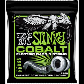 ernie ball 2736 slinky cobalt 5-strings Encordadura para bajo eléctrico de 5 cuerdas elaborada en cobalto para mayor elasticidad y brillo