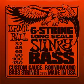ernie ball 2838 long-scale slinky bass 6-strings Encordadura nickelada para bajo eléctrico de 6 cuerdas