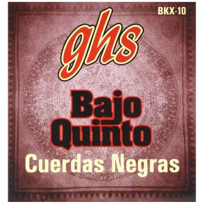 ghs bkx-10 Encordadura de acero inoxidable para bajo quinto en color negro
