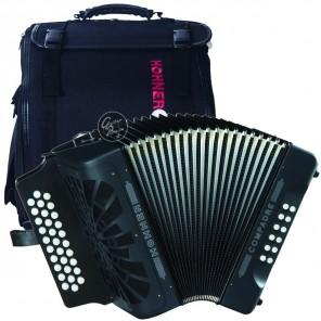 hohner a4822 compadre accordion acordeón diatónico de tres filas con 31 teclas de agudos y 12 teclas para bajos con bolsa
