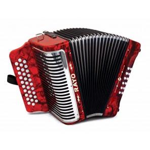 El Hohner RAYO es un acordeón diatónico de 31 botones en clave de GCF Tiene un hermoso cuerpo rojo con rejilla de metal Viene con un par de correas Acordeón para estudiante con diseño resistente