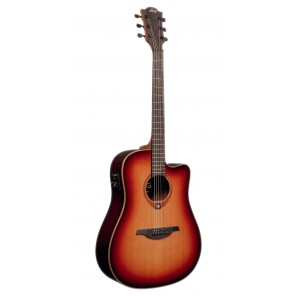 LAG T100DCE A/E Guitarra acústica que ofrece un elegante acabado satinado francés Tiene tapa sólida de cedro rojo que se combinan con respaldos y laterales de Caoba utilizando madera PaloRosa y Maple Brazo fabricado en madera de Khaya Tropical con 20 tras