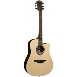 lag t270dce Guitarra electroacústica tamaño Dreadnought con corte color satinado Cuerpo hecho con madera de Condalia Mexicana y tapa sólida AA de Abeto Sitka Brazo de 20 trastes hecho de Khaya tropical con diapasón de Brownwood satinado de poro abierto Pa
