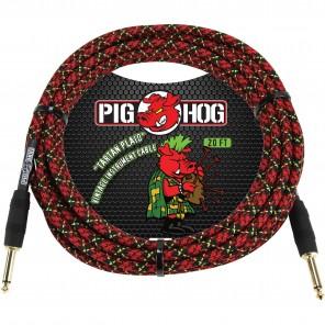 PigHog Vintage Series 'Tartan Plaid' 20ft Cable de la serie Vintage color Tartan Plaid de 20ft (6.1m) de longitud con punta recta Cuenta con cableado extra grueso, chaquetas tejidas de alta calidad únicas, conectores con calidad de alto rendimiento y desc