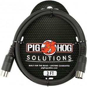 PigHog Cable MIDI 3ft Cable Midi de 3ft (1m) de longitud que cuenta con conectores de 5 pines moldeados para trabajo pesado con alivio de tensión incorporado, una funda de PVC extra gruesa y resistente Este cable especial está diseñado para mantener la in