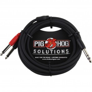"""PigHog Solutions 'Y' Cable 1/4"""" TRS Male - 2x 1/4"""" MONO Male - 10"""" Cable de audio en 'Y' de 10"""" de longitud con conectores recto de 1/4"""" TRS (M) y doble recto de 1/4"""" MONO (M) La línea de Pig Hog Solutions presenta una selección en expansión de adaptadore"""