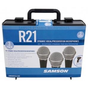 samson r21 3-pack set Paquete de tres micrófonos dinámicos con estuche