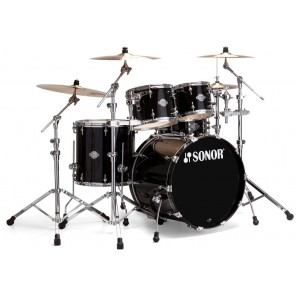 "Sonor Froce Select 5pc Shell Pack (Kick 22"") Batería Shell Pack de 5 piezas en color Black Gloss Fabricada en 7 capas de Maple canadiense de 7.2 mm con el sistema libre de vibración T.A.R. (Total Acoustic Resonance) con APS (Advanced Projection System) pa"