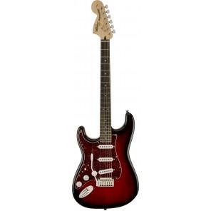 SQUIER AFFINITY STRATOCASTER STD LEFT HAND Guitarra eléctrica tipo stratocaster zurda Fabricada en madera de Agathis color redburst con placa tortoise roja Brazo de Maple con perfil en 'C' 22 trastes tamaño med-jumbo en diapasón PaloRosa Puente de doble a